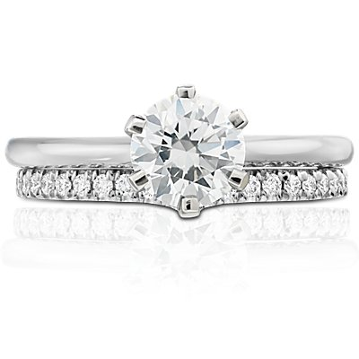 Classic V-Curved Diamond Ring in Platinum (1/5 ct. tw.)