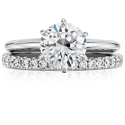 14k 白金 Riviera 密钉钻石永恒戒指(1/2 克拉总重量)