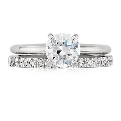 Petite Pavé Diamond Ring in Platinum (1/3 ct. tw.)