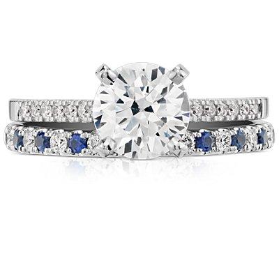 14k 白金Riviera 密釘藍寶石與鑽石戒指(1.5毫米)