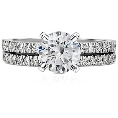 Petite Pavé Diamond Ring in 14k White Gold (1/3 ct. tw.)