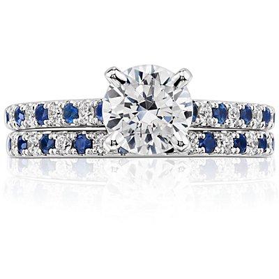 Anillo con pavé de diamantes y zafiros Riviera en oro blanco de 14 k (1,5mm)