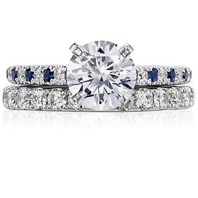 Anillo de eternidad con pavé de diamantes Riviera en oro blanco de 14 k (1 qt. total)