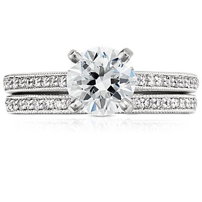 14k 白金 Riviera Pavé 家传之宝钻石戒指<br>(1/8 克拉总重量)