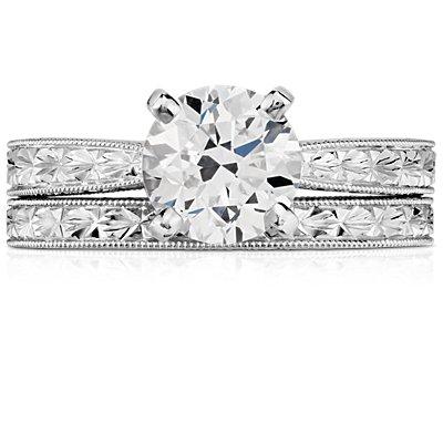 14k 白金手工雕刻结婚戒指