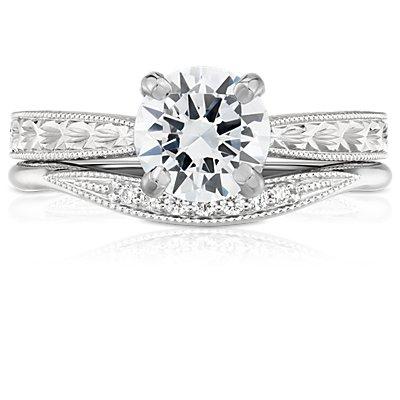 Anillo curvo de diamantes con detalles milgrain pequeños en oro blanco de 14 k