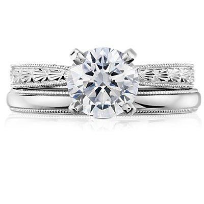 铂金锯状内圈圆弧设计结婚戒指<br>(2.5毫米)