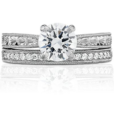 Hand-Engraved Micropavé Diamond Ring in Platinum (1/5 ct. tw.)