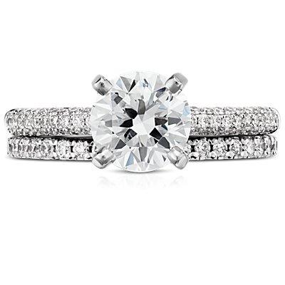 Bague d'éternité diamants sertis pavé français en or blanc 14carats (3/8carats, poids total)
