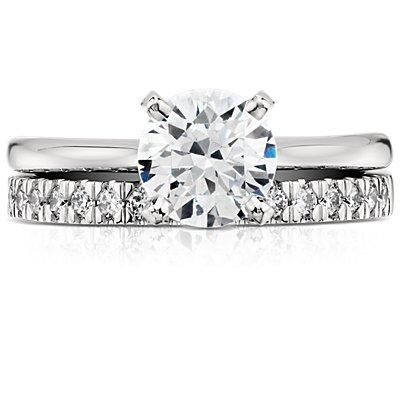 Anillo con pavé de diamantes Nouveau en platino
