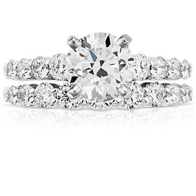 Bague diamant graduée en or blanc 14carats (1/2carat, poids total)