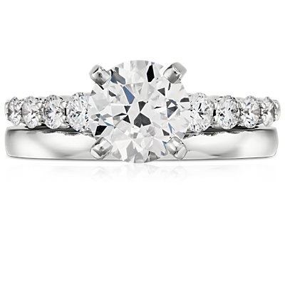 14k 白金低拱内圈圆弧形设计结婚戒指(2毫米)
