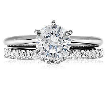 Bague classique incurvée en diamants en platine (1/6carat, poids total)