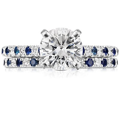 Riviera Micropavé Sapphire and Diamond Eternity Ring in Platinum (1.5mm)