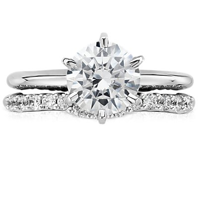 Classic Curved Diamond Wedding Ring in 18k White Gold (1/4 ct. tw.)