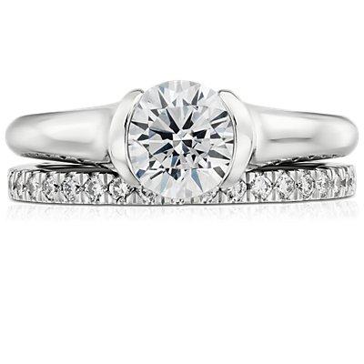 Petite Pavé Diamond Ring in 18k White Gold (1/3 ct. tw.)
