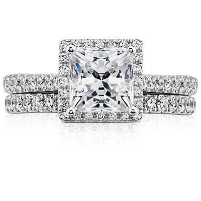 Bague d'éternité en diamants sertis pavé Riviera en or blanc 14carats (1/2carat, poids total)