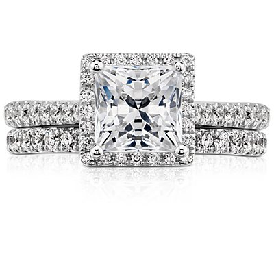 14k 白金Riviera 密釘鑽石永恆戒指(1/2 克拉總重量)