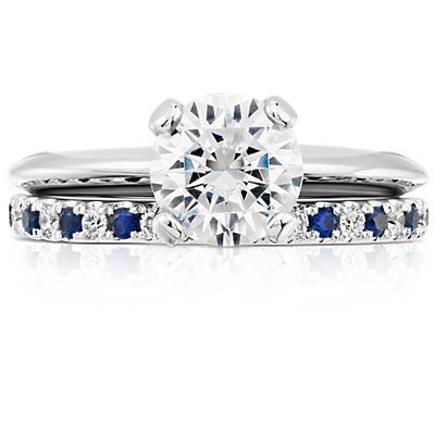 Riviera Pavé Sapphire and Diamond Ring in 14k White Gold (1.5mm)
