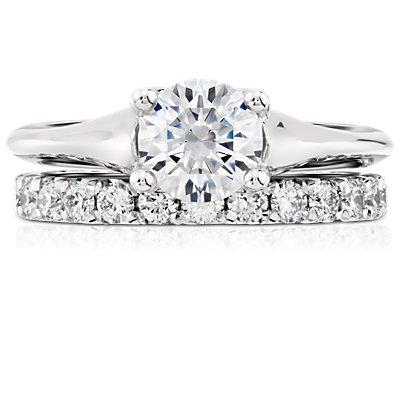 Bague d'éternité diamants sertis pavé français en platine (1carat, poids total)