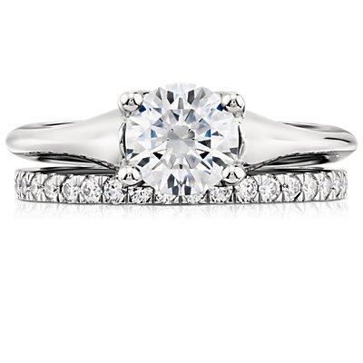 Petite bague en diamants sertis pavé en platine (1/3carat, poids total)