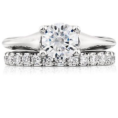 Bague en diamants sertis pavé à bords festonnés en platine (1/2carat, poids total)