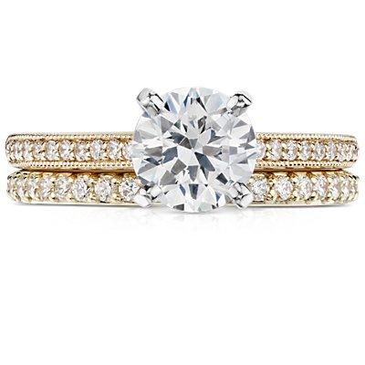 Bague d'éternité en diamants sertis pavé en or jaune 18carats (1/2carat, poids total)
