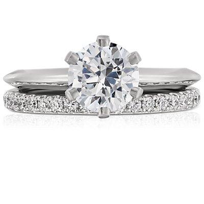 Bague d'éternité en diamants sertis pavé Riviera en platine (1/2carat, poids total)