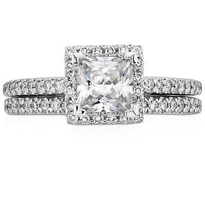 Alianza con pavé de diamantes en platino (1/6 qt. total)