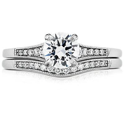 Graduated Milgrain Curved Diamond Band in 14k White Gold (1/10 ct. tw.)