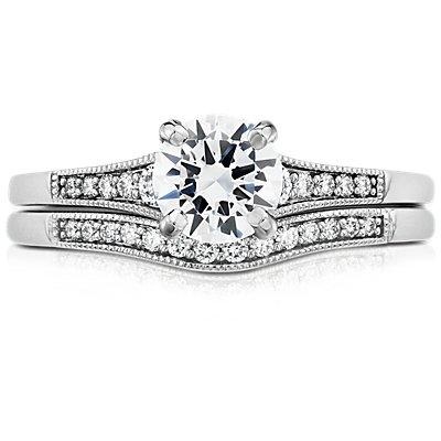 14k 白金渐变锯状滚边弧形钻石戒指(1/10 克拉总重量)