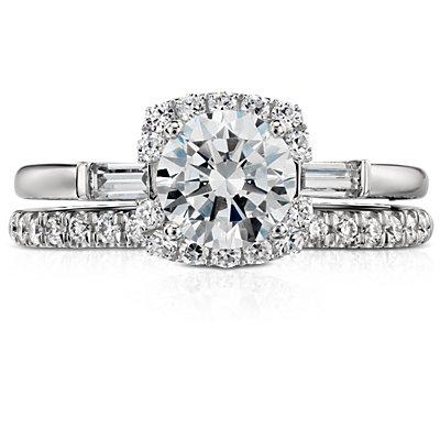 鉑金 Monique Lhuillier 法式密釘鑽石戒指( 1/5 克拉總重量)