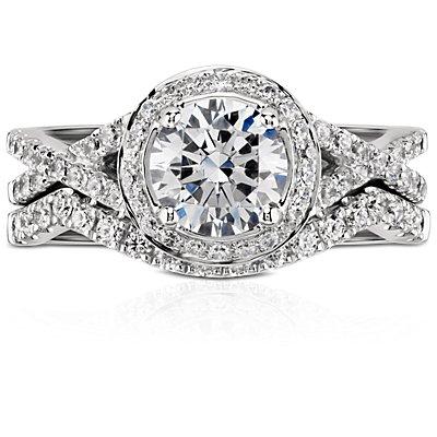 Anillo con pavé de diamantes de Monique Lhuillier en platino (1/5 qt. total)