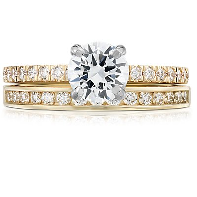 18k 黃金迫鑲鑽石戒指(1/4 克拉總重量)