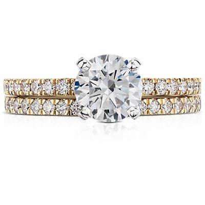 18k 黃金小巧密釘鑽石戒指(1/3 克拉總重量)