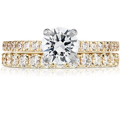 18k 黃金扇貝形密釘鑽石戒指(1/2 克拉總重量)