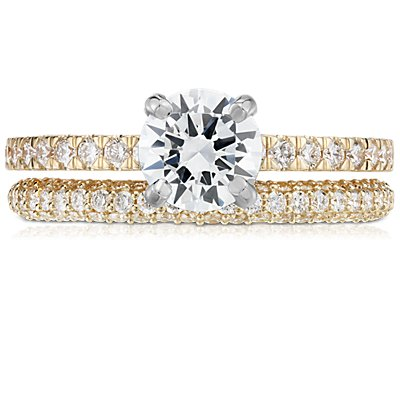 Trio Micropavé Diamond Wedding Ring in 18k Yellow Gold (1/3 ct. tw.)