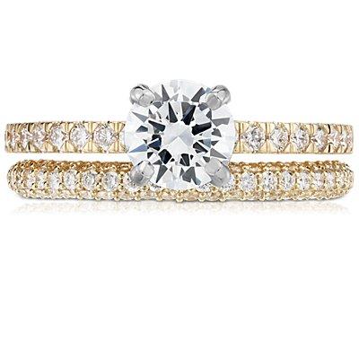 18k 黃金三重微密釘鑽石結婚戒指(1/3 克拉總重量)