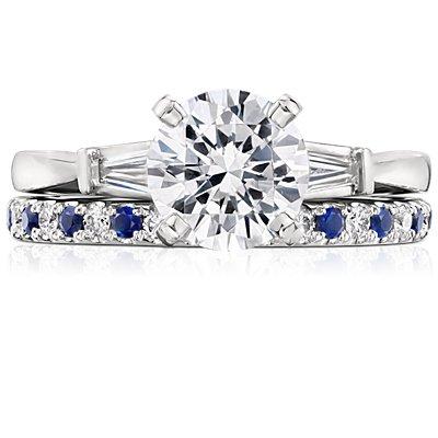 铂金 Riviera 密钉蓝宝石与钻石戒指<br>(1.5毫米)