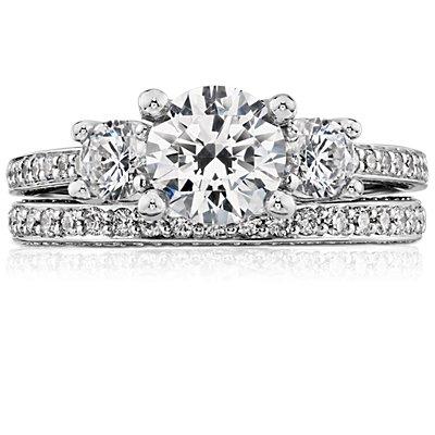 Bague d'éternité en diamants sertis pavé trio en or blanc 14carats (4/5carats, poids total)