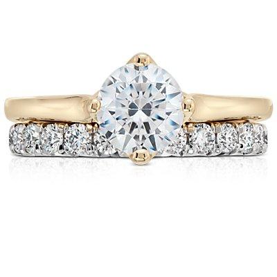14k 白金法式密釘鑽石永恆戒指(1 克拉總重量)