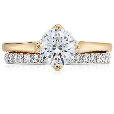 14k 白金Riviera 密釘鑽石戒指(1/4 克拉總重量)