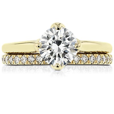 18k 金小巧密钉钻石戒指(1/3 克拉总重量)