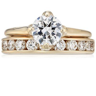 14k 黃金迫鑲鑽石戒指(1 克拉總重量)