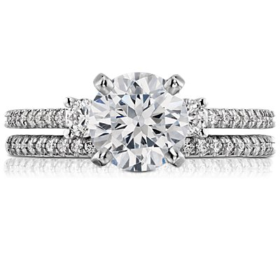 14k 白金小巧微密釘鑽石戒指(1/10 克拉總重量)