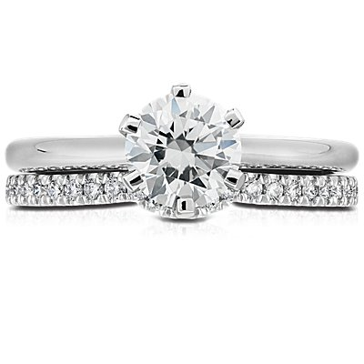 14k 白金经典曲形密钉钻石戒指<br>(1/6 克拉总重量)