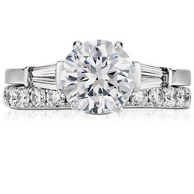 Bague d'éternité en diamants sertis pavé Riviera en platine (1carat, poids total)