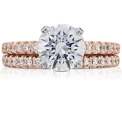 14k 玫瑰金法式密钉钻石戒指<br>(1/4 克拉总重量)