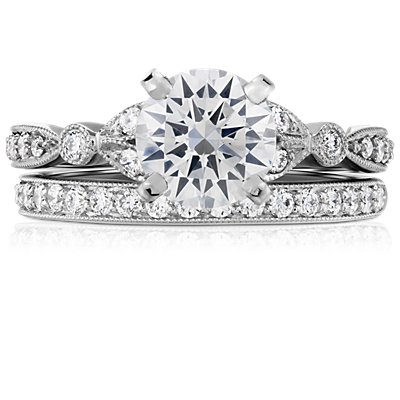 Riviera Pavé Heirloom Diamond Ring in 14k White Gold (1/4 ct. tw.)