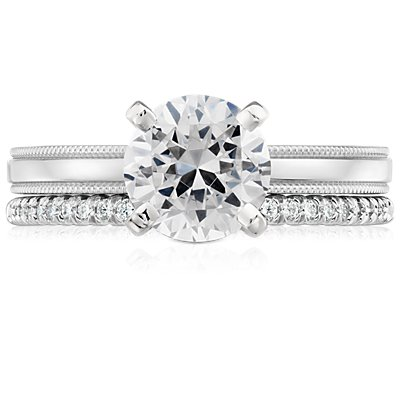 Petite Micropavé Diamond Ring in Platinum (1/10 ct. tw.)